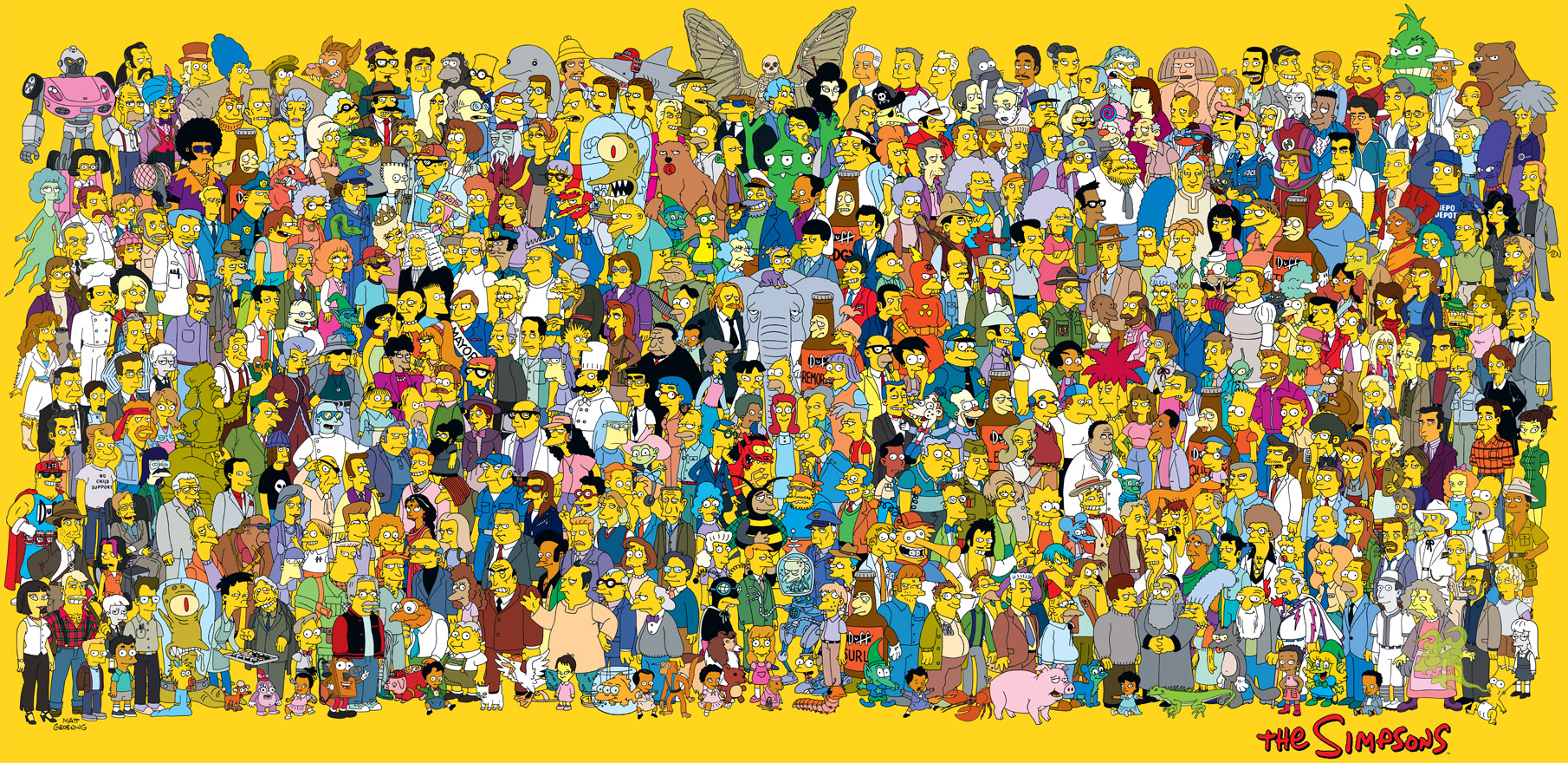 All in the Simpsons Cartoon Characters Names